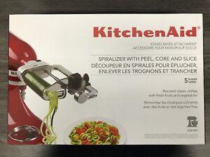 KitchenAid-5-Blade-Spiralizer-Attachment-KSM1APC-w-peel-core-and-slice-BRAND-NEW