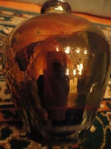 Copper-Luster-Pottery-Vase-Durham-Green-5-034-Tall-Vintage