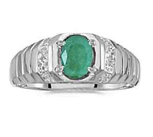 mens 7x5mm oval emerald and ring 10k white