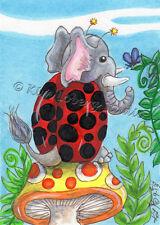 Elephant Lady Bug butterfly ACEO EBSQ Kim Loberg Fantasy Mini Art mushroom Ferns