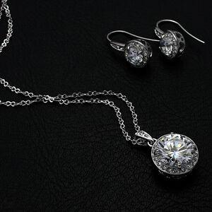 Lujo Conjunto Pendiente Colgante Oro Blanco 750/18krgp Cristal Idea De Regalo Jewelry & Watches