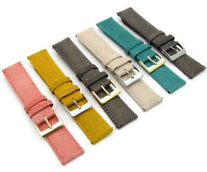 Vintage-Style-Padded-Leather-Watch-Strap-18mm-20mm-22mm-6-Colours-C089