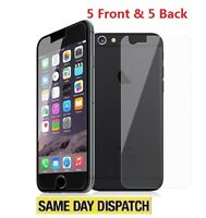 """New iPhone 7 4.7"""" Anti-scratch 5 Front and 5 Back Clear Screen Protectors Film"""