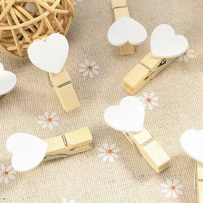 20 Pcs Cute Love Heart Wooden Clothes Photo Paper Peg Pin Clothespin Craft Clips