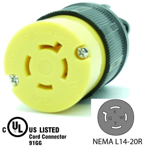 NEMA L14-20R 20A Locking Female Connector Plug 20 Amp 4Prong HJP-2413 Generator