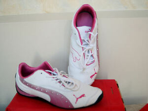 GIRLS   PUMA DRIFT CAT 3 DIAMOND FADE JR  WHITE  PINK LEATHER ... 4cc2887e81