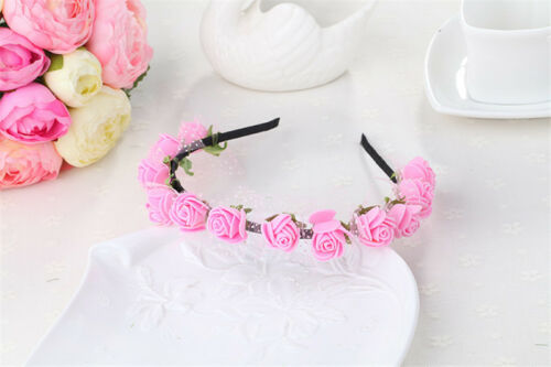Women Girls Rose Flower HairBand Headband Crown Festival Bridal Wedding Garland