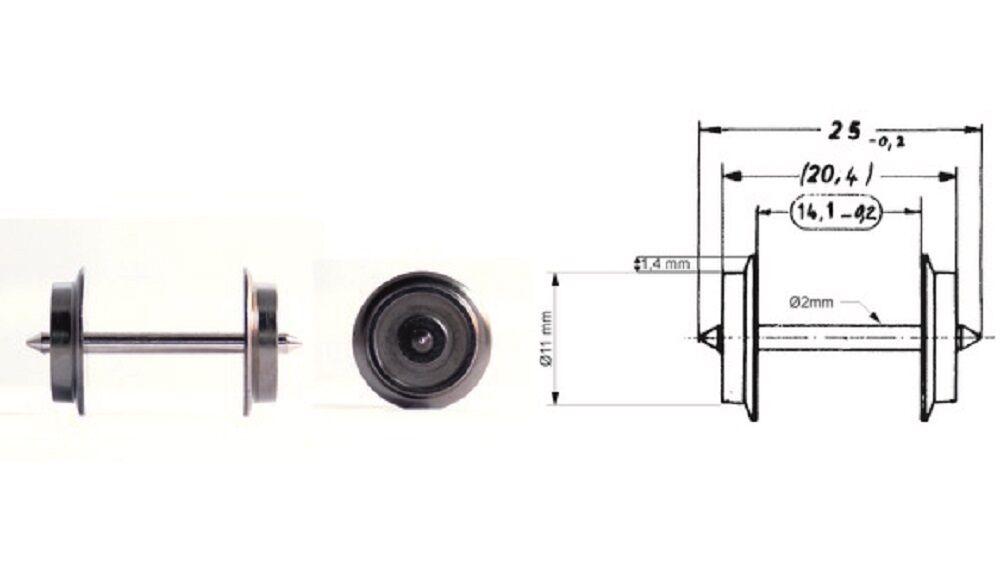 Fleischmann h0 6561 AC CORRENTE ALTERNATA-RUOTA 11 mm (50 pezzi) NUOVO