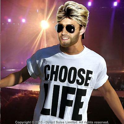 MENS CHOOSE LIFE GEORGE MICHAEL WHAM 1980S 80S FANCY DRESS COSTUME TOP /& WIG