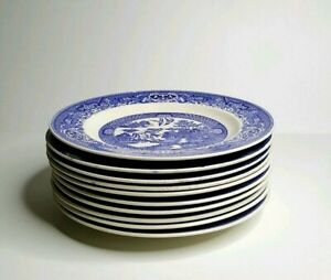 Vtg-Large-Blue-Willow-Dinner-Plates-Willow-Ware-9-034-Royal-Ironstone-China