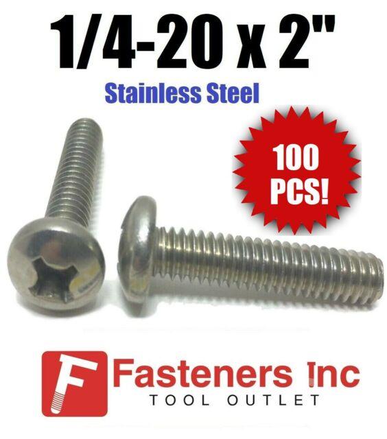 Qty 100 1//4-20 x 1 Phillips Pan Head Machine Screw Stainless Steel