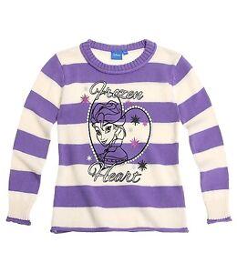 DISNEY-pull-sweat-LA-REINE-DES-NEIGES-8-ou-10-ans-blanc-et-violet-a-rayures