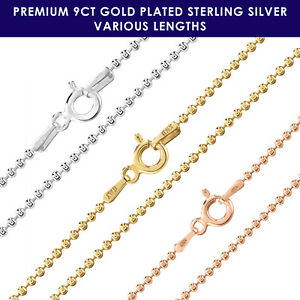 9ct-Gold-plated-on-925-Sterling-Silver-BALL-BEAD-1-5mm-chain-necklace