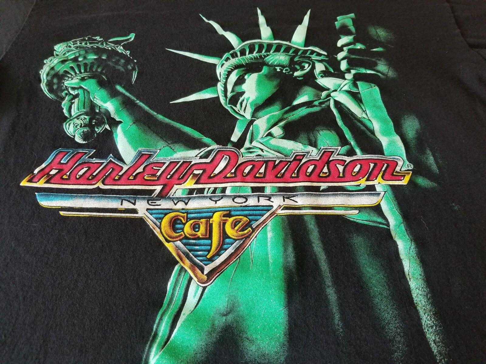 HARLEY DAVIDSON NEW YORK CAFE VINTAGE TEE SHIRT LARGE FANTASTIC GO USA