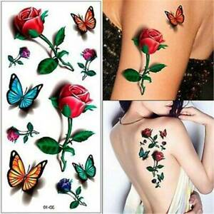 Butterfly-Rose-Tattoo-Temporary-Waterproof-3D-Body-Art-Sheet-Sticker-Fake-Ladies