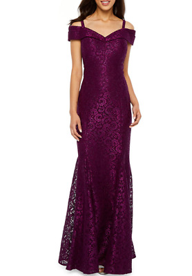 R M Richards Short Sleeve Cold Shoulder Lace Evening Gown 8 Mulberry 160 Ebay