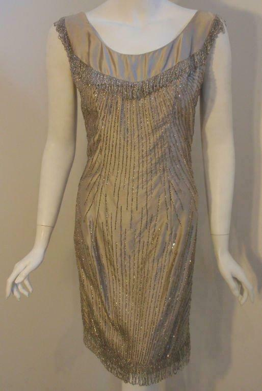 CEIL CHAPMAN 1950s Champagne Silk Shimmering Cock… - image 5