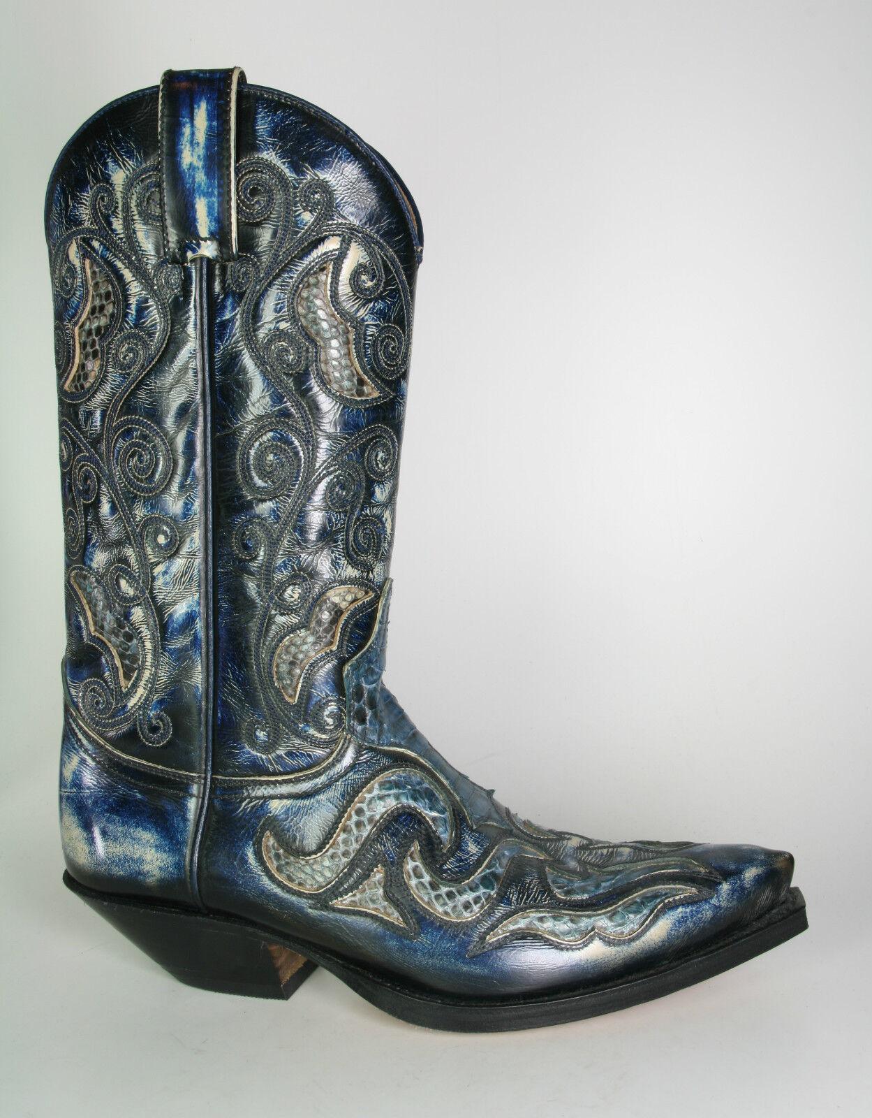 7428 Sendra Cowboystiefel Denver Azul Dirty Westernstiefel Blau mit Pythonleder