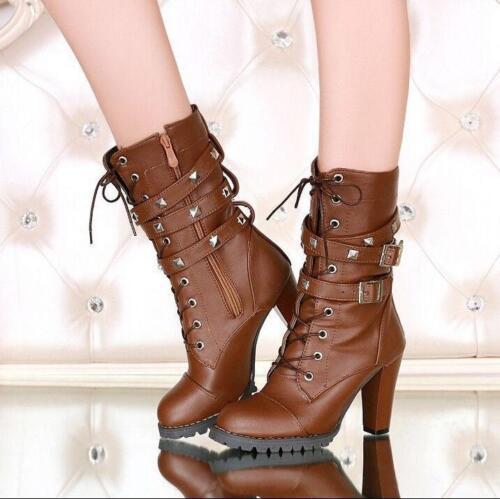 Cloutées Talon Haut Mi-Mollet Rivet Femme Boucle Lacets Bottes Chaussures Fermeture éclair