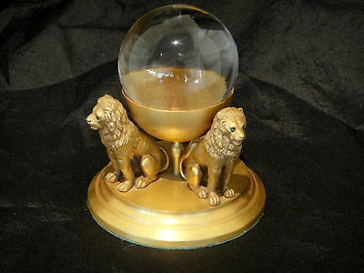 Jeweled Gold Gilt Lions on Crystal Ball Pedestal, Object of Vertu