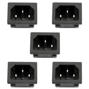 5PCS IEC320 C14 3 Pin Male Power Socket W//Fuse 10A 250V For Boat DIY AC-001D2 T2