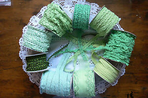 Mixed-Lace-GREEN-3-amp-some-4-2-Metre-Lengths-Webster-Polyester-9-Variety-Choice