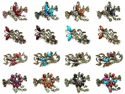 Multiple Colorful Glitter Crystal Peacock Butterfly Alligator Jaw Hair Clip Claw
