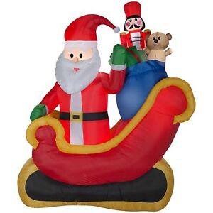 Christmas Inflatables.Details About Christmas Inflatables Santa Claus Sleigh W Gifts Bear Toy Soldier 7 5ft Decor