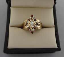 ANTIQUE 14K YELLOW GOLD MARQUISE SHAPE DIAMOND & GARNET GEMSTONE RING - 5.7 GRAM