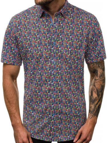 Hemd Business Classic Freizeit Slim Kurzarm Shirt Casual Herren OZONEE 9837 MIX