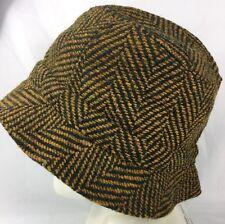 Jonathan Richard Irish Tweed Mens Walking Hat dark mustard brn 100% Wool Cap XXL
