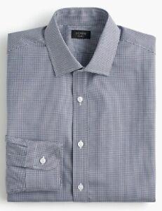 "2019 Bnwts J.crew Ludlow Shirt (16""/34-slim) Blue Micro-check Cotton S/cuffs - B"