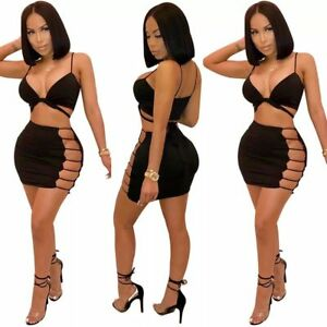 0aaf9a2ba36 Details about Women 2 Piece Bodycon Two Piece Crop Top + Skirt Set Bandage  Dress Party Club
