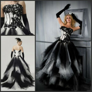 Details about Black White Wedding Dresses Bridal Ball Gowns Ostrich Feather  Plus Size Custom