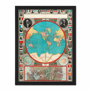 Details about GPC 1913 World Map Colonial Power Panama Canal Large Framed  Art Print
