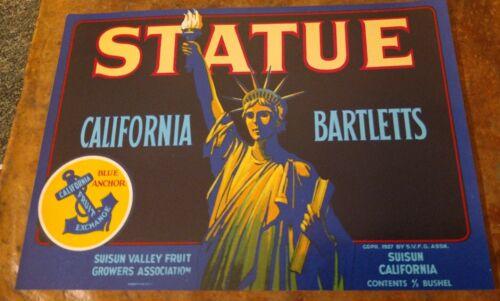 Suisun Valley Statue of Liberty **AN ORIGINAL CHERRY CRATE LABEL** STATUE Brand