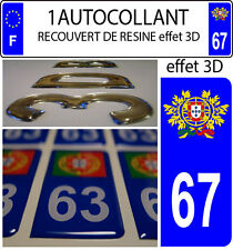 1 sticker targa auto TUNING 3D RESINA STEMMA PORTOGALLO DIPARTIMENTO 67
