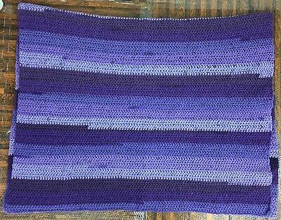 Afghan Blanket 64 X 35 Size Crocheted Med Light Purple, Hand Made, Lovely! Vloeiende Circulatie En Pijn Stoppen