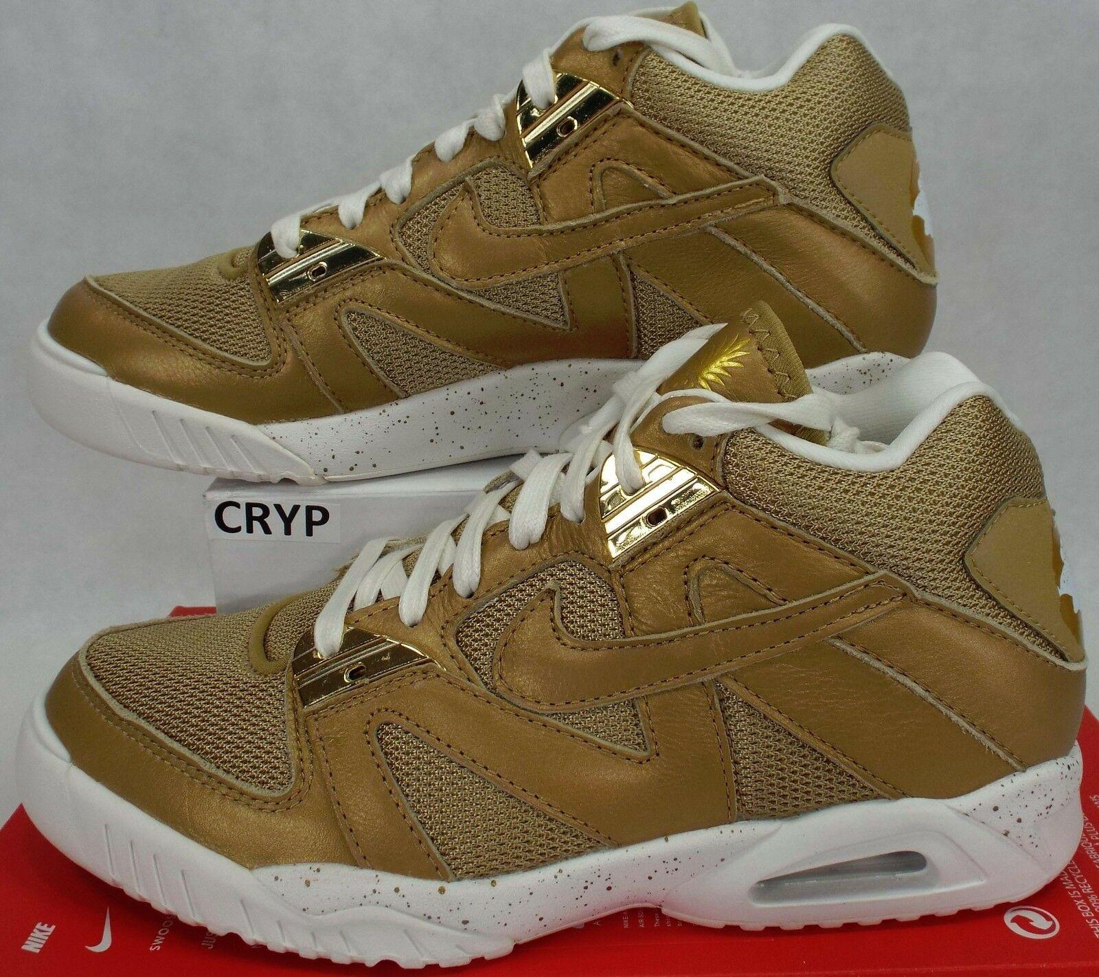 New Mens 9.5 NIKE Air Tech Challenge III 3 Gold Weiß schuhe  150 749957-701
