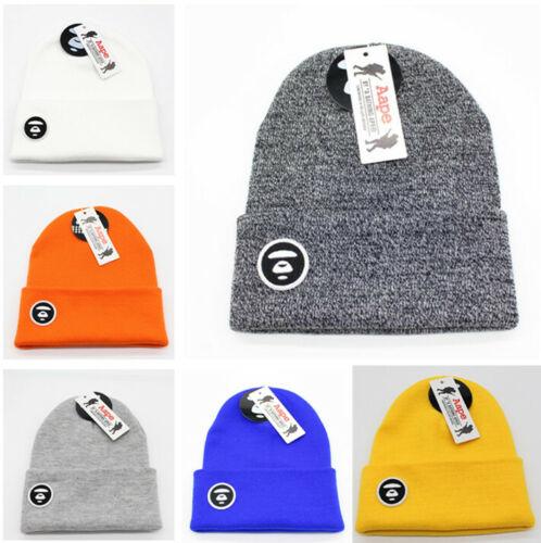 Fashion Men Women Bape AAPE Beanie Winter Warm Hiphop Hat Cap 7 Color