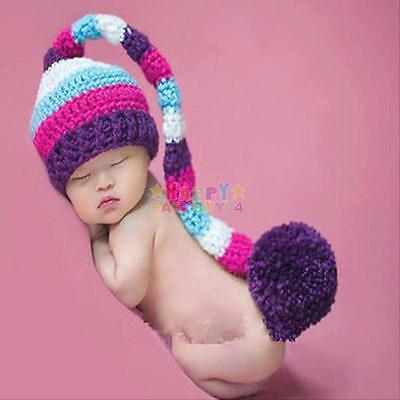 Rainbow Long Tail Newborn Baby Photography Photo Props Crochet Knitted Hat Cap