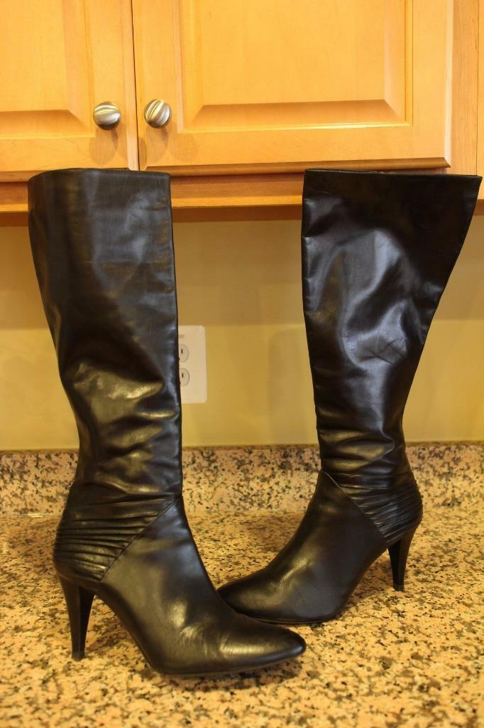 Cole Haan Women's KNEE HIGH BLACK LEATHER BOOTS 11 (BO1400