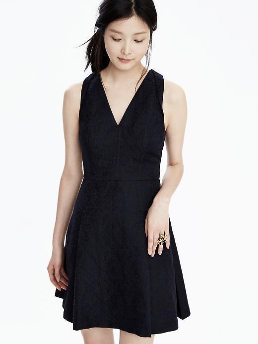NWT Banana Republic damen Jacquard Pleat Vee Dark Blau Zip Dress 14 L  NEW