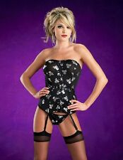 New With Tags:  Escante Lingerie Skull and Crossbones Corset with Garters