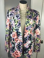 Bar Lll Open Front Blazer Jacket Coat Medium Floral Roses