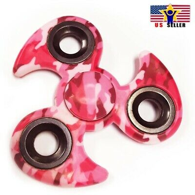 Pinwheel Tri Three Sides Arm Ceramic Fidget Fast Spin Multi Pink Camo Army Wing