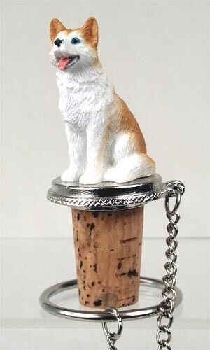 HUSKY  RED  AND  WHITE  BLUE EYES DOG WINE STOPPER