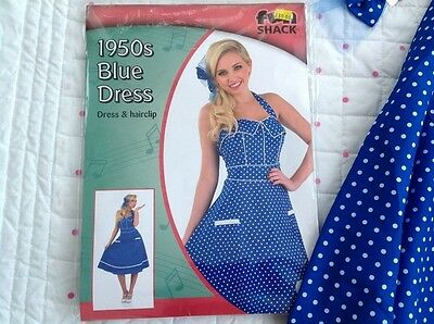1950s Fancy Fun Shack 40s 50s Blu A Pois Spot Dress + Fermacapelli Grande 16 18-mostra Il Titolo Originale I Prodotti Sono Venduti Senza Limitazioni