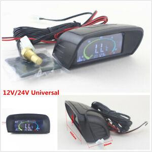 12V-24V-LCD-Digital-Car-Voltmeter-Volt-Gauge-Water-Temperature-Gauge-Thermometer