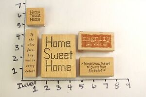Wooden-RUBBER-STAMP-Block-Lot-Greetings-Home-Sweet-Home-Friendship-Blessings